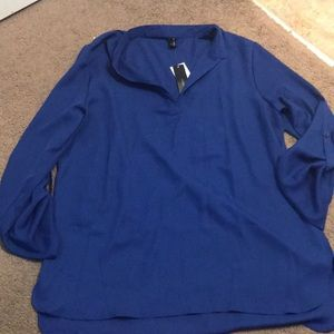 blue blouse,It is see through with buttons on arms